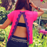 Bohemian top open back shirt slit hot pink blue lace Boho Hippie layering Upcycled clothing OOAK by TheBohemianDream