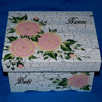 Personalized Wood Wedding Keepsake Memory Box Hand Painted Pink Peonies Shabby Chic Bridal Shower Gift White Distressed Envelope Card Box
