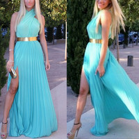 Elegant Cross Hanging Neck Maxi Dress