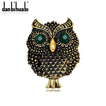 danbihuabi New Animal Brooches Vivid Owl with Green Rhinestone Eyes Gold&Silver Color Collar Corsage for Women Wedding AG035