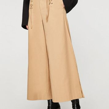 Khaki Lace Up Front Wide Leg Pants