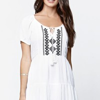 LA Hearts Short Sleeve Embroidered Babydoll Dress - Womens Dress - White