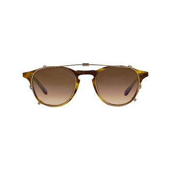 Garrett Leight - Hampton Clip M 46mm Gold Clip-On Sunglasses / Blue Shadow Mirror Lenses