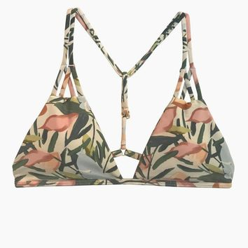 Poema T-Back Triangle Bikini Top - Vintage Floral Print