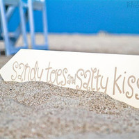 Beach Wedding Sign  Sandy Toes & Salty by yourethatgirldesigns