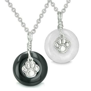 Wolf Paw Small Lucky Donut Charms Love Couple or Best Friends Set Silver Powers Onyx Jade Necklaces