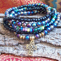Rainbow Nights - Stretch Stacking Bracelets with Aurora Borealis Beads and Golden Cross