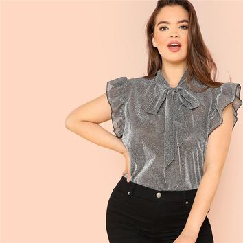 Ruffle Trim Tie Neck Plus Size Women Thin Blouses Polyester Sleeveless Elegant Office Lady Solid Top Blouse