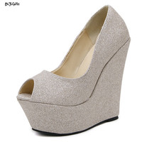 Women Sexy High Wedges Heels Open Toe Glitter Party Shoes Woman Pumps zg139-36