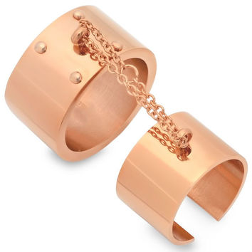 Rose Gold Plated stainless steel double ring