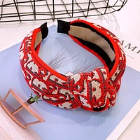 Dior Hot Sale Fashion Women Knot Headwrap Headband Head Hair Band Red