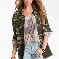 Lush Studded Camo Print Army Jacket (Juniors) | Nordstrom