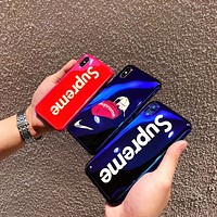Supreme Tide brand simple mirror soft shell men and women iphone xs max phone case