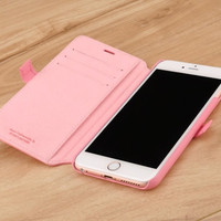 Pink Genuine Leather Wallet Case for Apple iPhone 6 / 6s