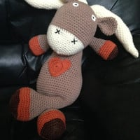 "Crochet Amigurumi Animal - Texas Longhorn - 21"" Stuffed Animal - Baby Safe Toy - University of Texas Longhorn Gift - Plush Toy - Handmade"