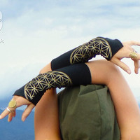 Ara: Flower of Life Arm Warmers. Wrist Cuffs with Sacred Geometry Screen Print. Hand Warmers. Organic Cotton wrist cuffs.