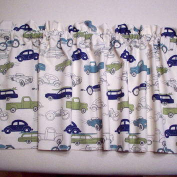 Retro Cars Boys, Custom Boutique Valance / LINED curtain / Nursery, Bathroom, Bedroom / Window Treatments