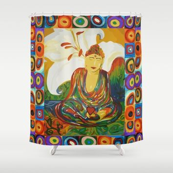 Buddha Circles Shower Curtain by Cr8tv Designs | Society6