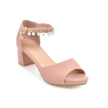 Rhinestone Pearls Ankle Strap Mid Heel Sandals Summer Shoes 6869