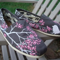 Branching out in pinkcustom painted TOMS shoes by Lisarachel