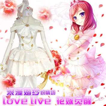 Anime Nishikino Maki Love Live Lolita White Wedding dress Cosplay Costume
