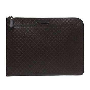Gucci Diamante Leather Zip Portfolio Briefcase Bag 368564 2044 Brown