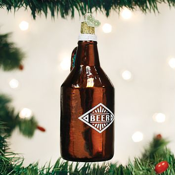 Old World Christmas Handcrafted Blown Glass Ornament -- Beer Growler