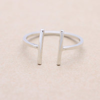 925 sterling silver double bar / 2 sticks ring