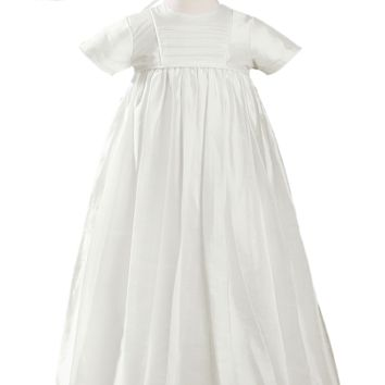 Silk Handmade Heirloom Christening Gown with Hat & Bonnet (Baby Girls or Boys Newborn - 12 months)