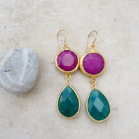 spring jewelry fashion long  DUAL fresh emerald teal green drop & fuchsia pink jade gemstone earrings textured matte gold Israel jewelry