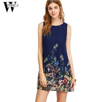 WYHHCJ 2017 Summer Womens Dresses New Arrival 2017 Navy Buttoned Keyhole Back Flower Print Scoop Neck Sleeveless A Line Dress