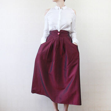 Iridescent maroon red full tea length pocketed midi skirt