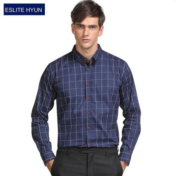 New Long Sleeve Slim Fit Plaid Shirt For Men / High Quality Dress Shirt For Men