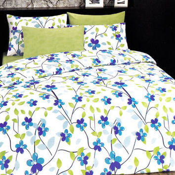 NEW! Custom Queen or Full Size Ocean Blue, Lime Green Floral Print Duvet Cover Set, Bright Colors, 3 pieces