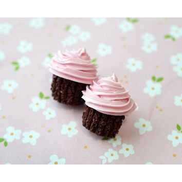 Pink Chocolate Cupcake Post Earrings, Polymer Clay Miniature food