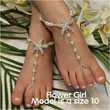 STARFISH flower girl barefoot sandals