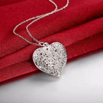 Tree of Life Flower Heart Pendants 925 stamped silvered necklaces Collar de Prata 20 '' snake chain For St. Valentine's Day gift