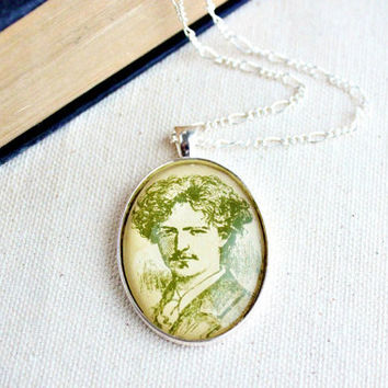 Dashing gentleman pendant necklace.  Made with illustration from vintage sheet music of mustache man