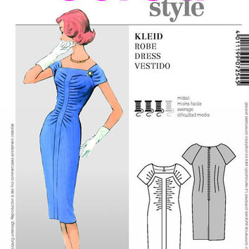 50s Inspired Sheath Dress Sewing Pattern, Tea Gown, Fitted Dress, Mad Men, Burda 7254 Sizes 10, 12, 14, 16, 18, 20, 22 uncut