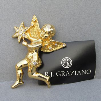 HUGE Vintage 1996 Signed R. J. Graziano Rhinestone Figural Angel Cherub with Star Pin or Pendant