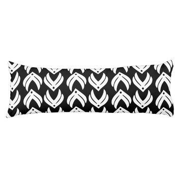Black and white tribal style pattern body pillow