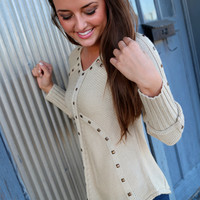 Lovely In Studs Knit {Tan}