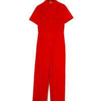 Red Stretch 60s Vintage Romper Mod Playsuit W/ Chest Pockets Button Up Retro Jumpsuit, Long Wide Trousers, Short Sleeves, Small Size
