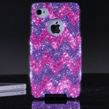 Otterbox iPhone 4 / 4S Case  - Glitter Orchid/Raspberry Custom Chevron Pattern Otterbox Case for iPhone 4S