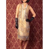 "20s Style Gold Bead Sequin ""Marcelle"" Fringed Flapper Dress"