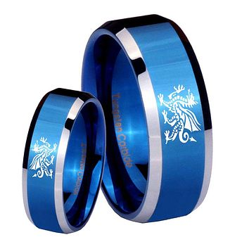 His Her Shiny Blue Bevel Dragon Two Tone Tungsten Wedding Rings Set