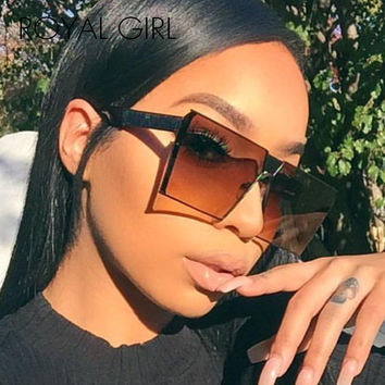 ROYAL GIRL 2017 New Color Women Sunglasses Unique Oversize Shield UV400 Gradient Vintage eyeglasses frames for Women #ss953