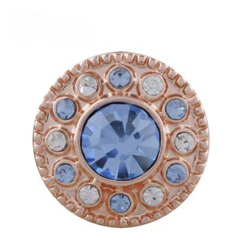 "Snap Charm Rose Gold Mini 12mm Blue Stone Crystal Border 1/2"" Diameter Fits Ginger Snaps"