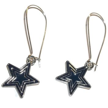 Dallas Cowboys Themed Navy Blue Enamel Silver Star Drop Earrings