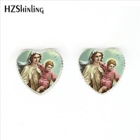2017 New Arrival Blessed Virgin Mary Stud Earrings Handmade Art Photo Glass Dome Mother of Baby Heart-Shaped Earring